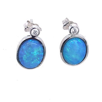 White Gold Earrings with Beautiful Opals and Bezel Set Diamonds