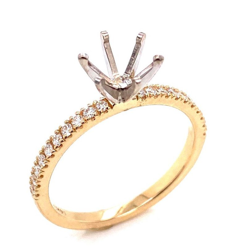 14 Karat Yellow Gold Diamond Semi Mount