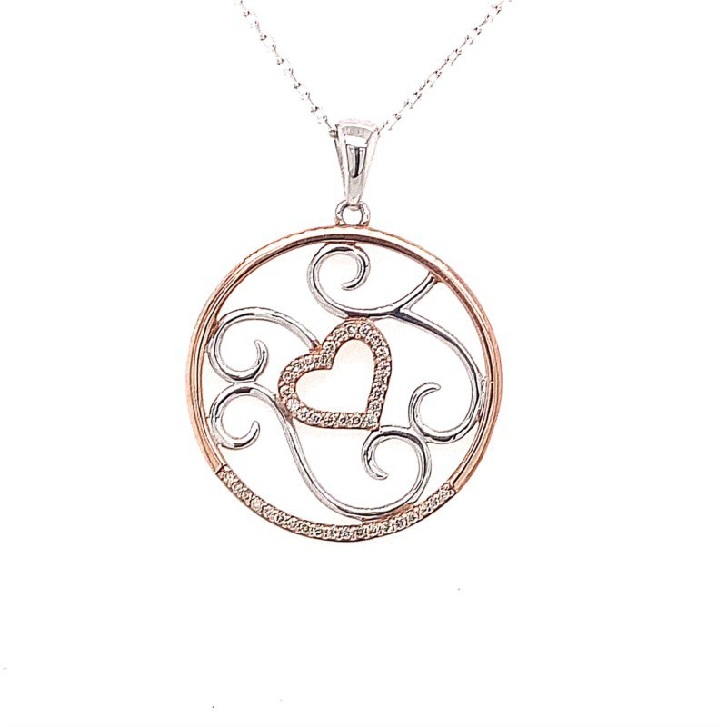 Sterling Silver and Rose Heart and Swirls Diamond Pendant with Cappuchino Diamonds