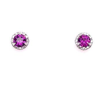 Grape Garnet and Diamond Stud Earrings