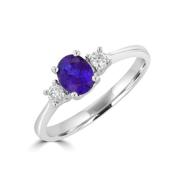 White 14 Karat 3 Stone Ring WithTanzanite and Diamonds