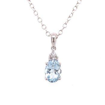 White Polished 14 Karat Drop Aquamarine and Diamond Pendant