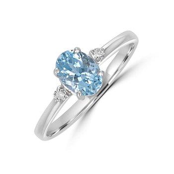 Petite White Gold Aquamarine and Diamond Ring