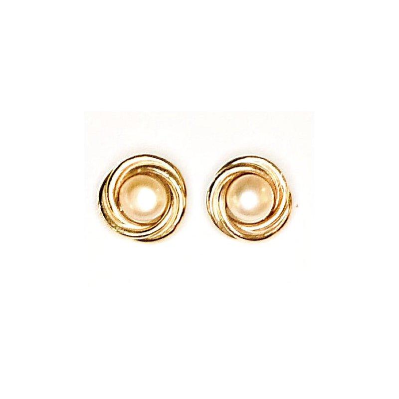 14 Karat Gold Swirls with Button Pearls