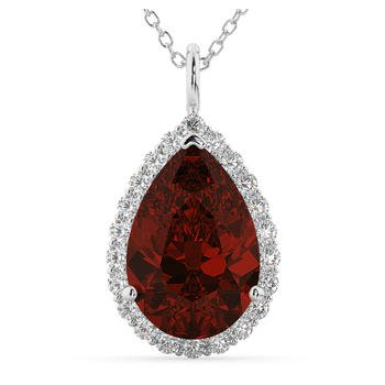 Warm Garnet and Diamond Pendant in 14 kt Gold