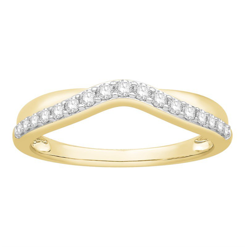 14 kt Yellow Gold Curved Diamond Band