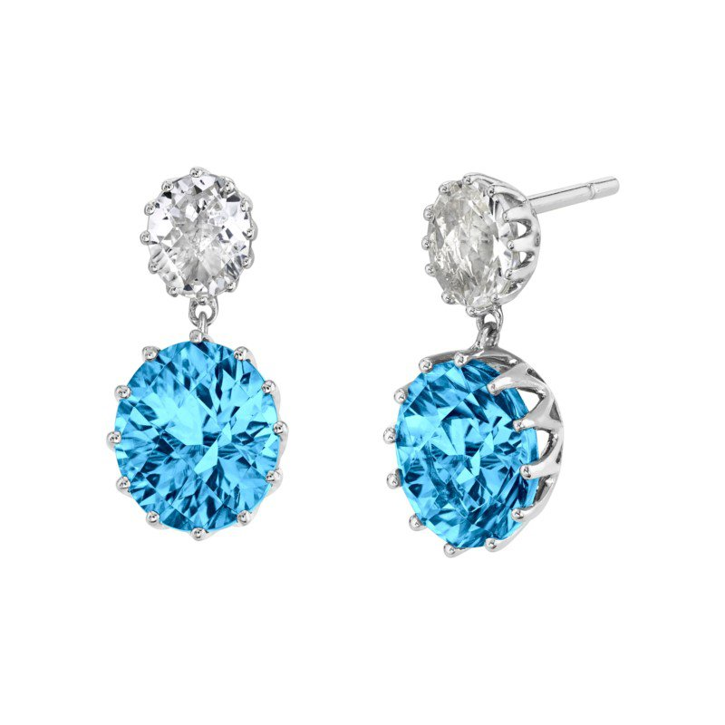 Vintage Inspired Blue Topaz and Goshanite Drop Earrings
