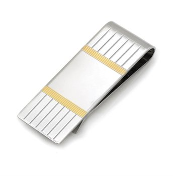 White And Yellow Sterling Silver Money Clip