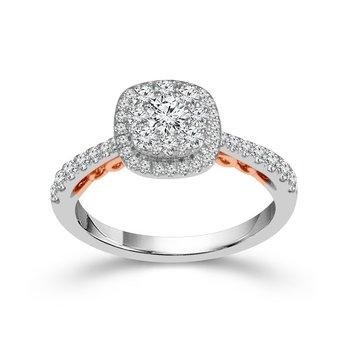 White Gold Diamond Ring with Rose Gold Scroll Details