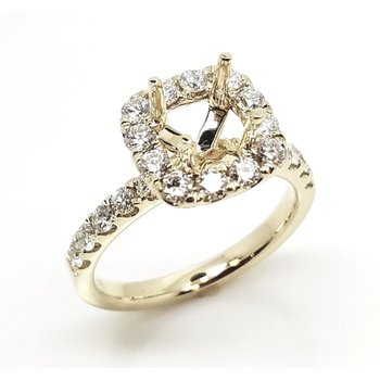 Classic Yellow Diamond Halo Engagement mounting