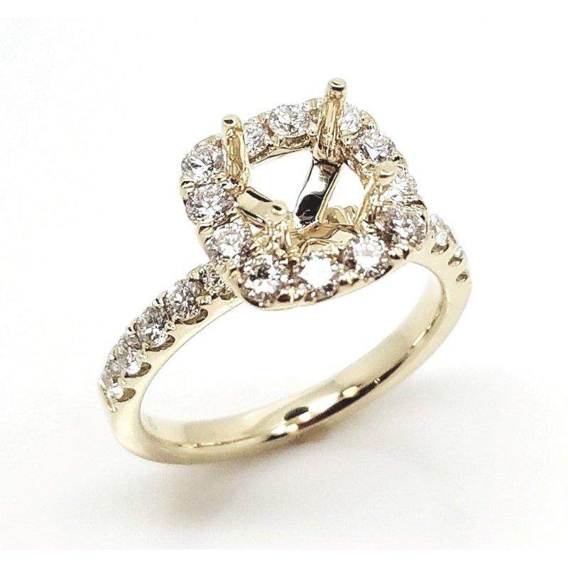 Classic Yellow Diamond Halo Engagement mounting