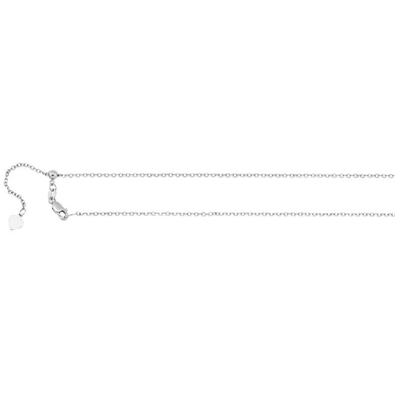 White 14 Karat Diamond Cut Adjustable Cable Link Necklace Length 22