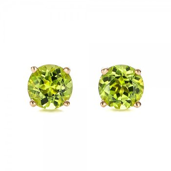 Yellow 14 Karat Peridot Stud Earrings