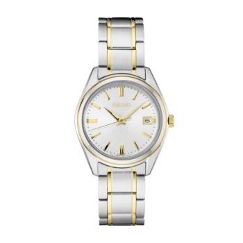 White and Yellow Stainless Steel Seiko Quartz Watch