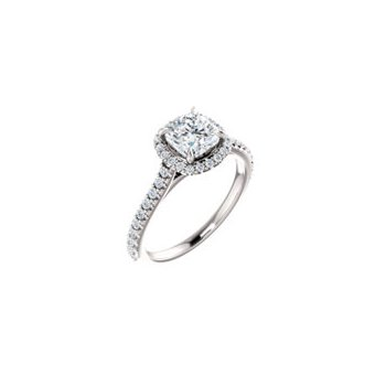 Gorgeous Cushion Shaped Diamond set with a Halo of Round Diamonds