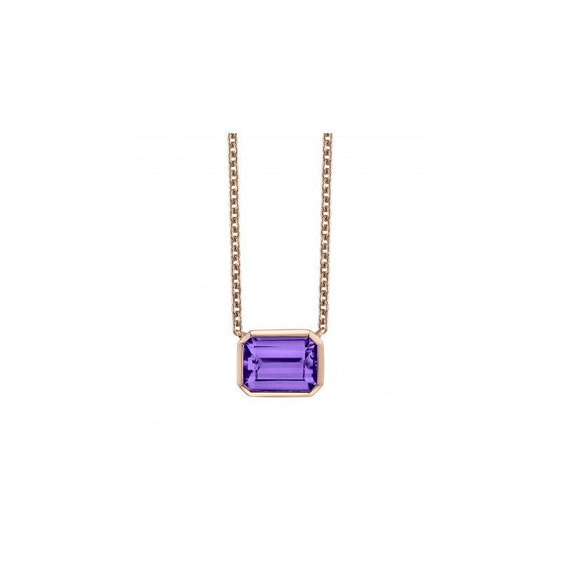Bright Amethyst Rose Gold Pendant and chain