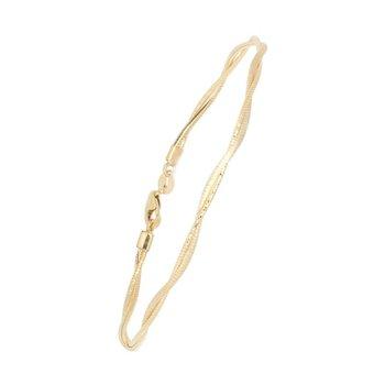 """Diamond Cut 14 Karat Superflex Twist Omega Bracelet, 7.5"""""""