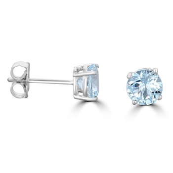 Aquamarine Studs in White Gold