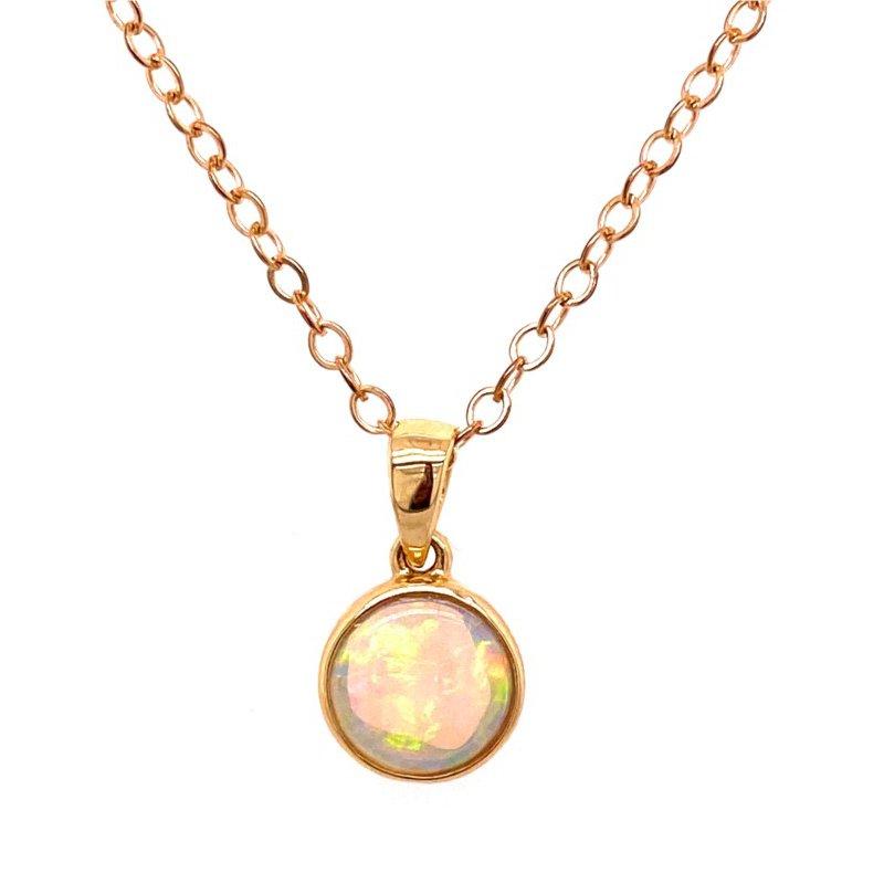 14 Karat Yellow Gold Bezel Set Opal Pendant