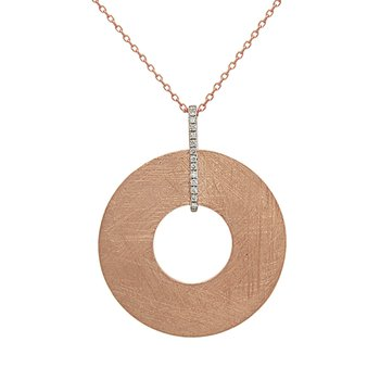 14 Karat Rose Gold Open Textured Circle Pendant with Diamond Station