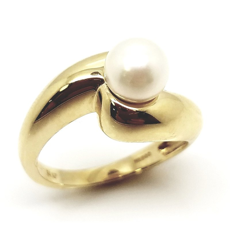 Heavy Swirl Ring with Pearl