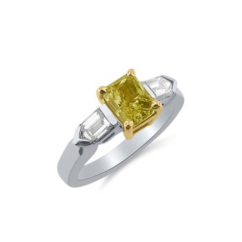 Blazing Fancy Intense Yellow Diamond with unusual Fancy Bullet Cut Side Diamonds