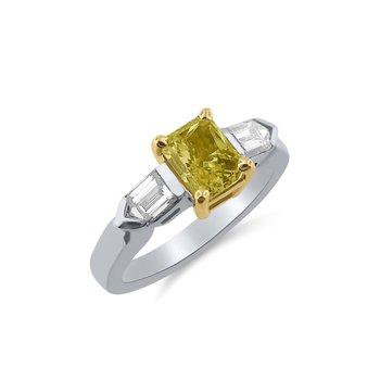 Blazing Fancy Intense Yellow Diamond with unusual Fancy Bullet Cut Side Diamonds