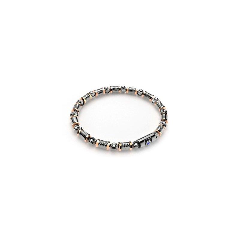 Black And Rose Sterling Silver Bead Bracelet Length 8.5