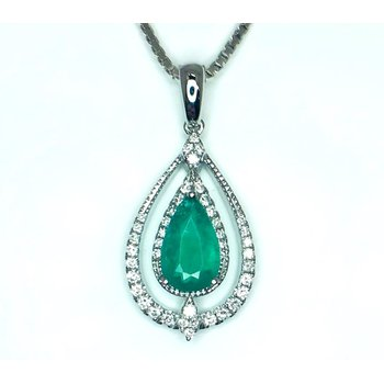 Lush Emerald and Diamond Pendant in 14 kt Gold