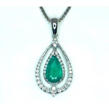 Lush Emerald and Diamond Pendant in 14 kt Gold