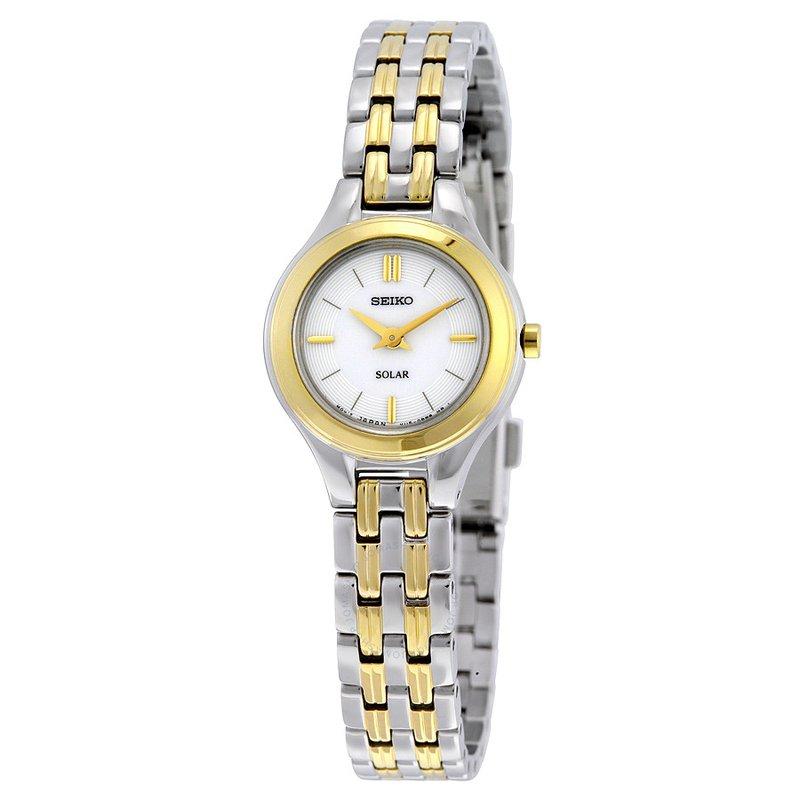 Ladies White and Yellow Solar Seiko Watch