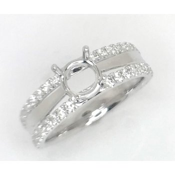 18kt White Gold  ring with Outer Rows of Diamonds