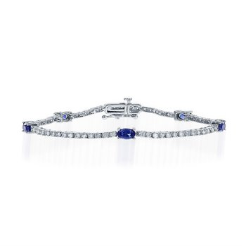 Dashing Sapphire and Btrilliant Diamond Bracelet