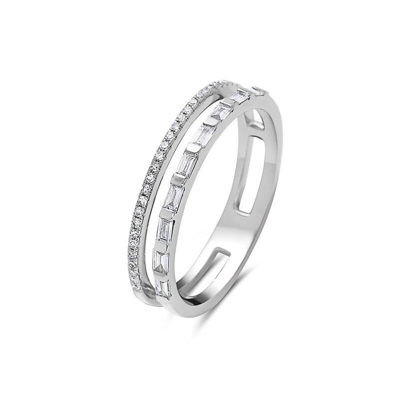 14 Karat White Gold Double Diamond and Baguette Ring