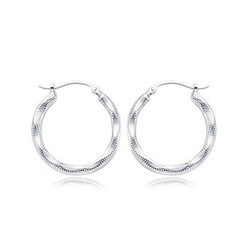 Sterling Silver Embossed Hoop Earrings
