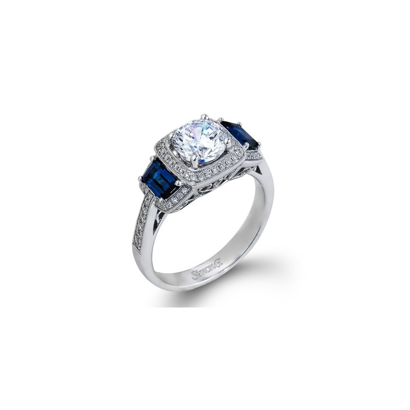 Unique 18kt White Gold semi-mount with Sapphires and Diamonds