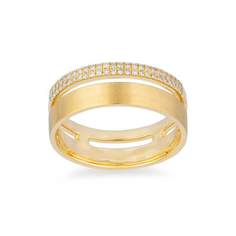 14 Karat Yellow Gold Satin Diamond Ring