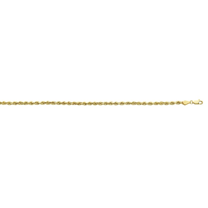 Yellow Diamond Cut 10 Karat Rope Necklace Length 22