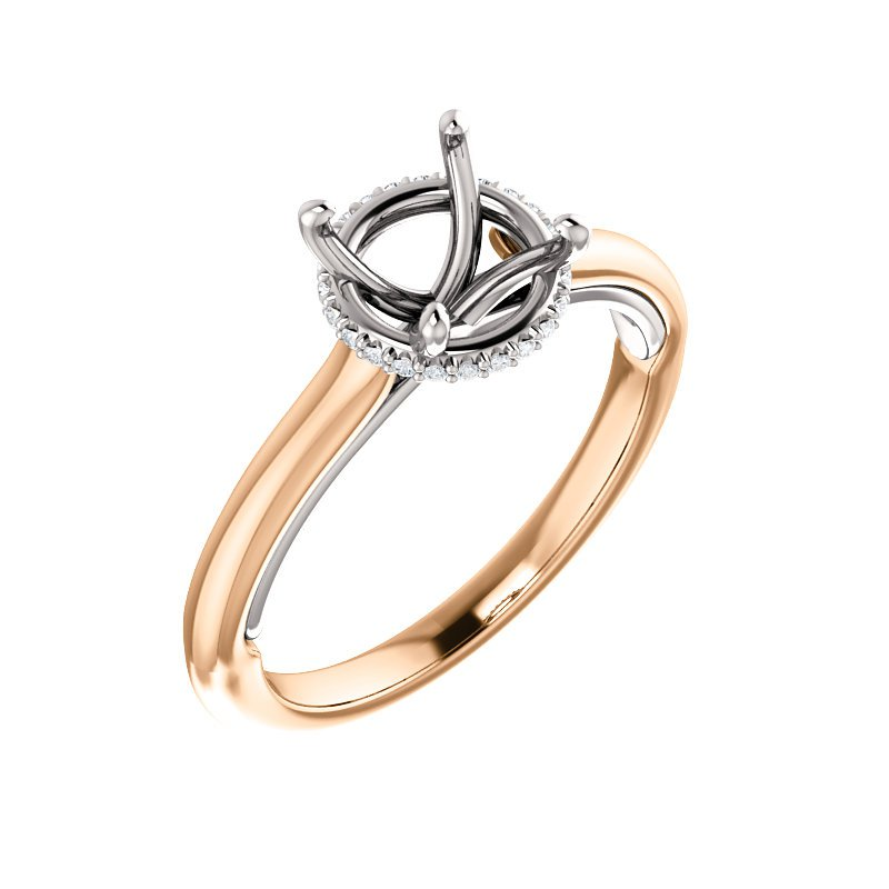 Rose and White Gold Ring with Diamond Details under Center