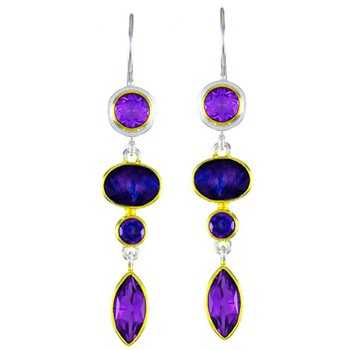 Sterling Dangle Earrings with Amethyst, Onyx and Topaz