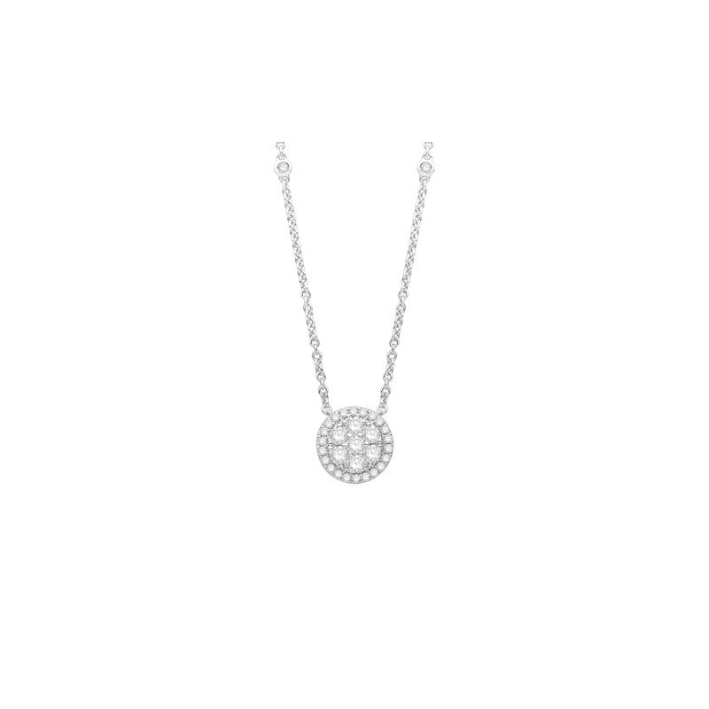 "Cluster Pendant With 1.00Tw Round Diamonds On An 18"" Diamond Station Chain"