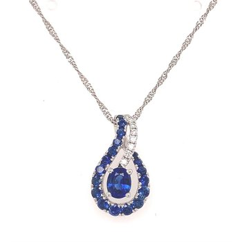 Free Form Sapphire and Diamond Necklace on 14 Karat White Gold Chain