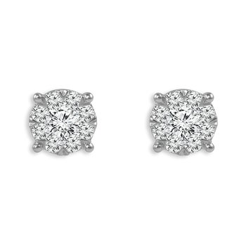 """Harmony Collection"" Diamond Cluster Stud Earrings"