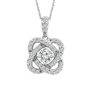 "10 Karat White Gold Diamond ""Love Knot"" Pendant"