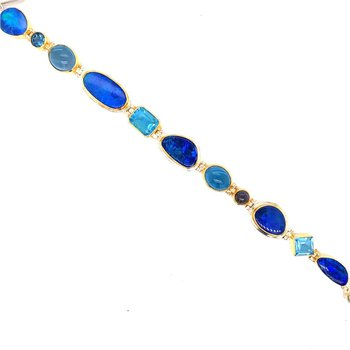 Cascading Blue Bracelet With Various Blue Gemstones