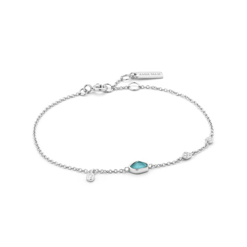 Sterling Silver Mineral Glow Turquoise Discs Bracelet