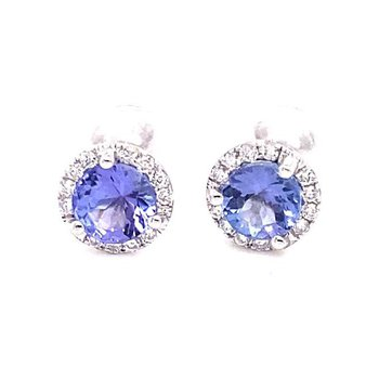 White Gold Tanzanite Stufd Earrings with Diamond Halo