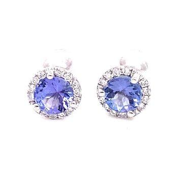 White Gold Tanzanite Stufd Earrings with Diamond Halo