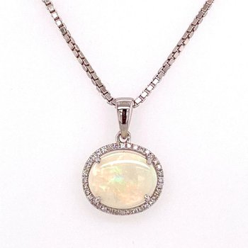 14 Karat Opal and Diamond Halo Pendant