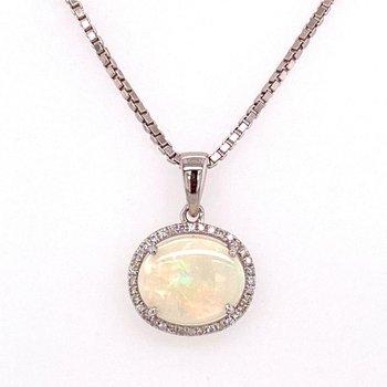 14 Karat Opal and Diamond Halo Pendant